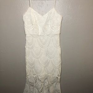 White Lace Fitted Midi Tank Top Dress